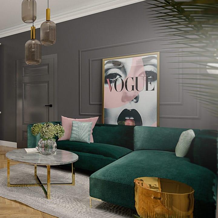 Projekt wnętrza apartamentu w starej kamienicy - Gdynia | salon