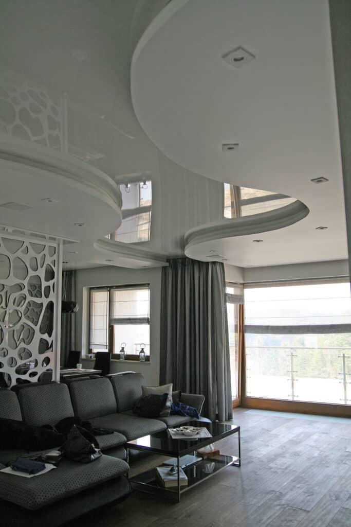 Sufit napinany | projekt wnętrza Duszyńska Design | Klient Gdynia