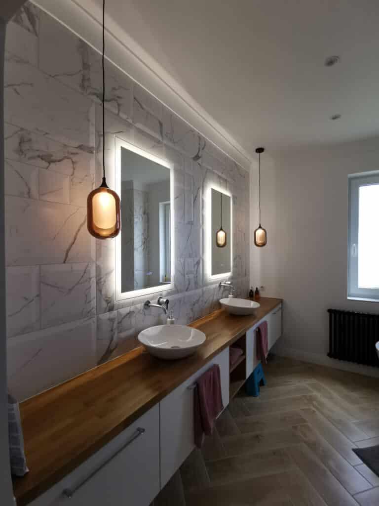Projekt wnętrza domu w Mostach | łazienka