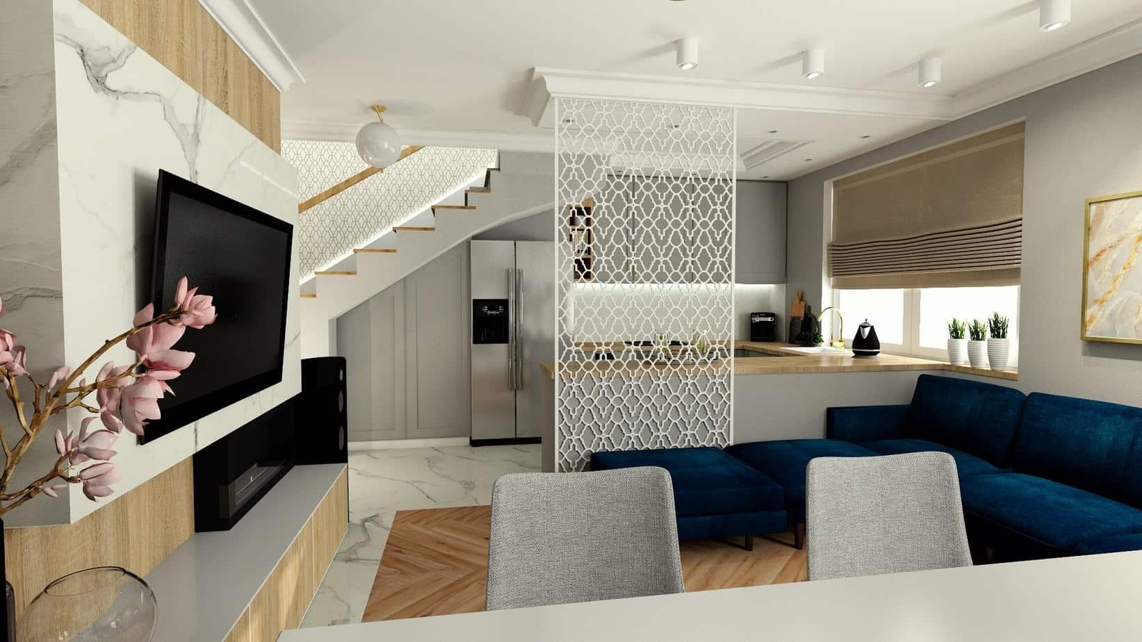 salon z kuchnia panel 3d