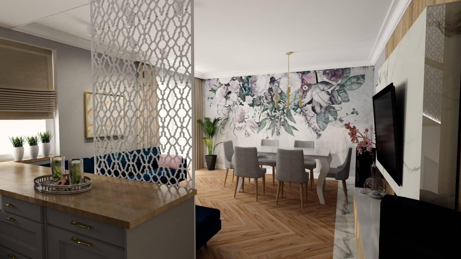 salon z kuchnia panel 3d 2