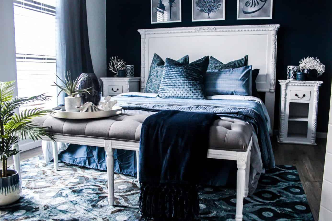Granatowa sypialnia | Projektowanie wnętrz - Duszyńska Design 6