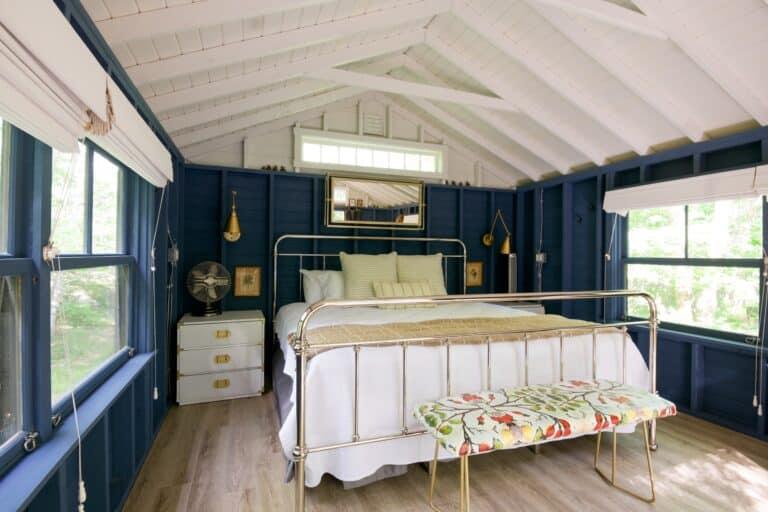 Granatowa sypialnia Projektowanie  wnetrz 23