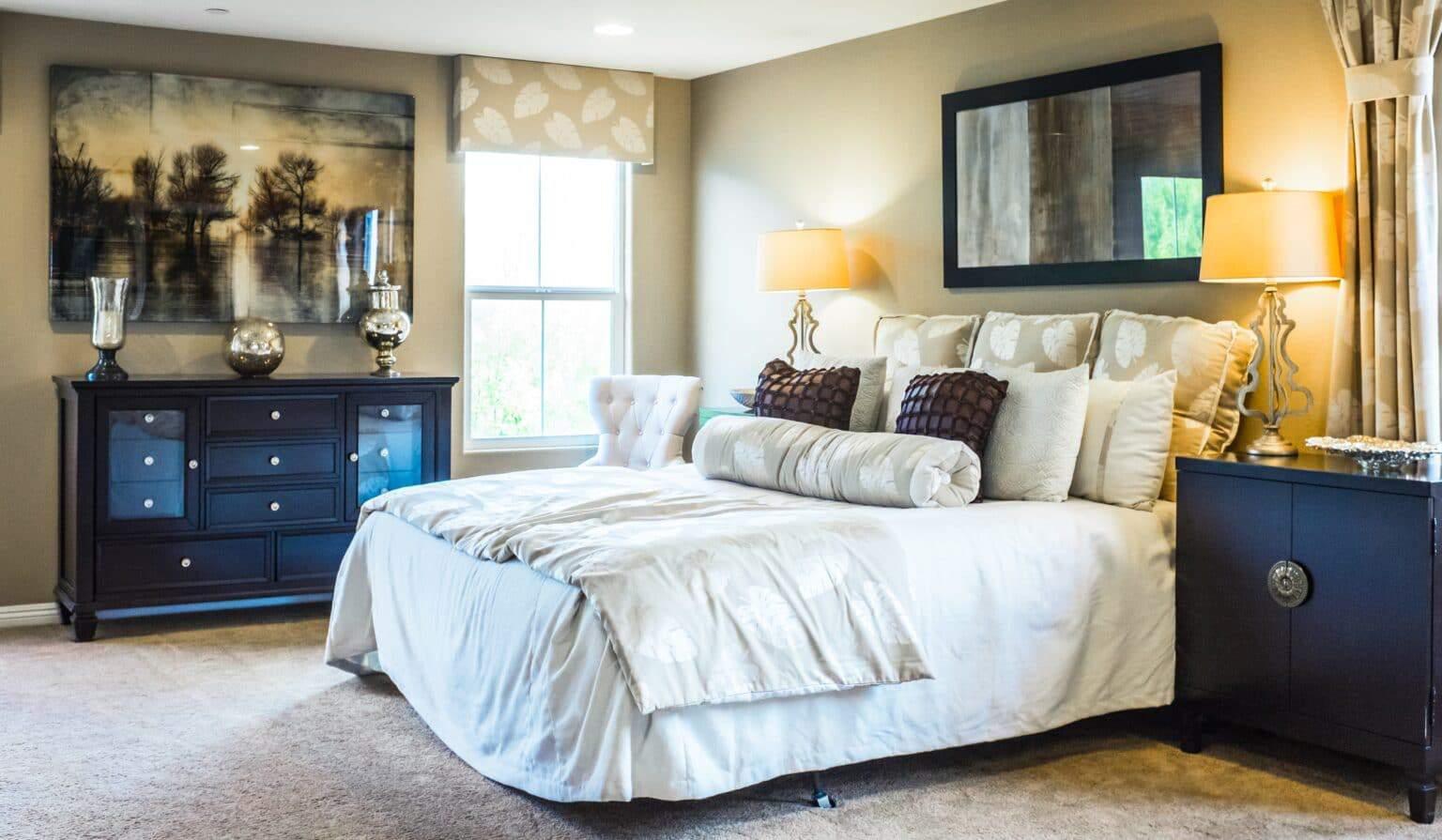 wykładzina w sypialni styl amerykański
