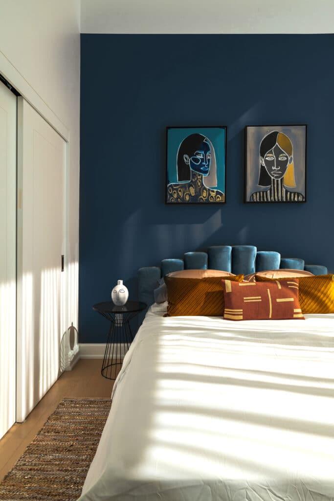 Granatowa sypialnia Projektowanie  wnetrz 7