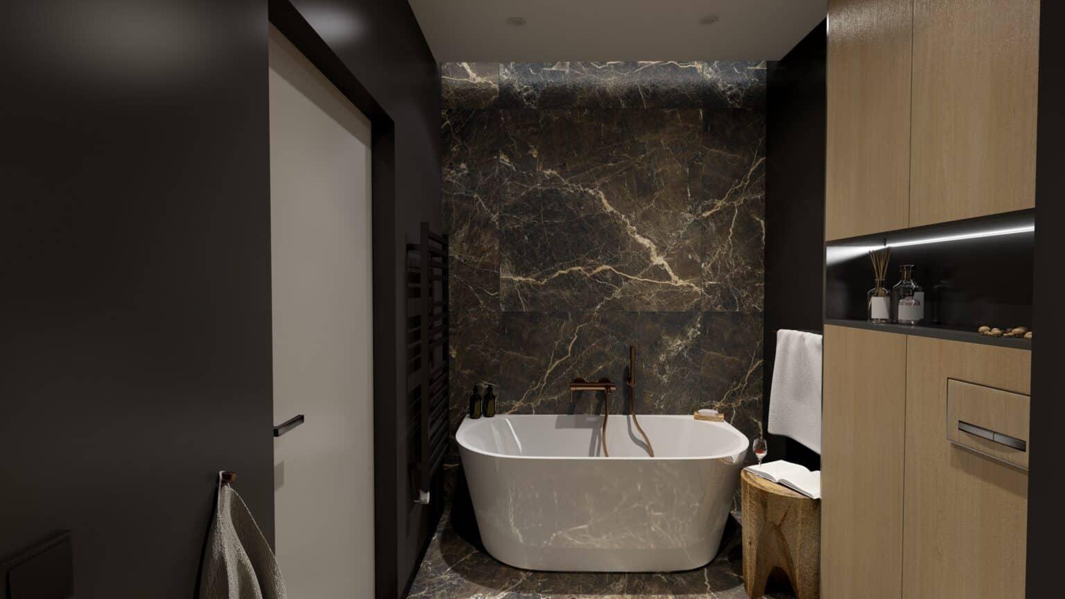 projekt wnętrza / projekt ciemnej łazienki